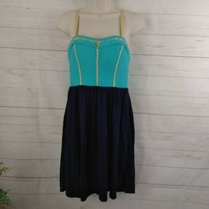 Anthropologie Lilka Blue Color Block Dress XS